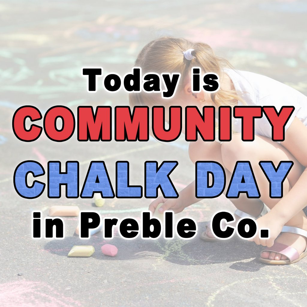 Preble County Community Chalk Day is upon us! Will you be going out today to create some #ChalkArt? We'd love to see what you're working on, so comment below, message us on FB, or email your pics to youthservices@preblelibrary.org! 😃  #CommunityArt #ChalkArt #SidewalkArt