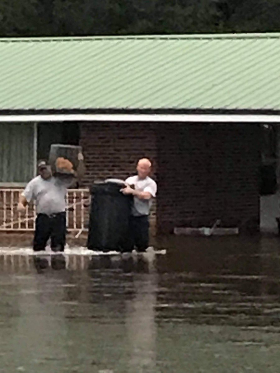 Unable to rescue them, she called us for help. Chief Jeremy Radney & FF/EMT Lonnie Thomas quickly came to the woman's aid. With a little bit of teamwork, they were able to save her beloved pets from the flooded home.   How's that for a great way to wrap up a not-so-great week? ❤️