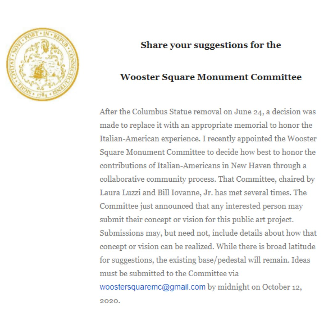 Do you have ideas for how best to honor the contributions of Italian-Americans in #NewHaven? Send them to woostersquaremc@gmail.com  @MayorElicker @cityofnewhaven