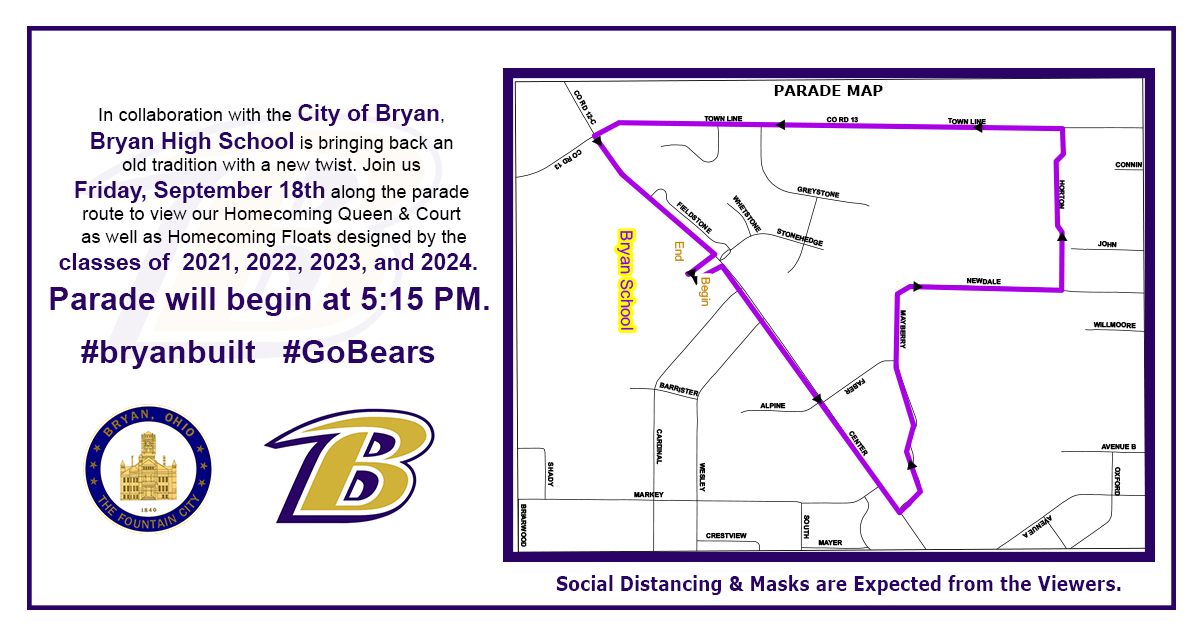Please join us TODAY along the parade route to cheer for the Homecoming Queen and her court and to view the Homecoming floats created by our students! The parade will begin at 5:15 pm and follow the route on this map. Please social distance & wear your mask! #bryanbuilt #GoBears