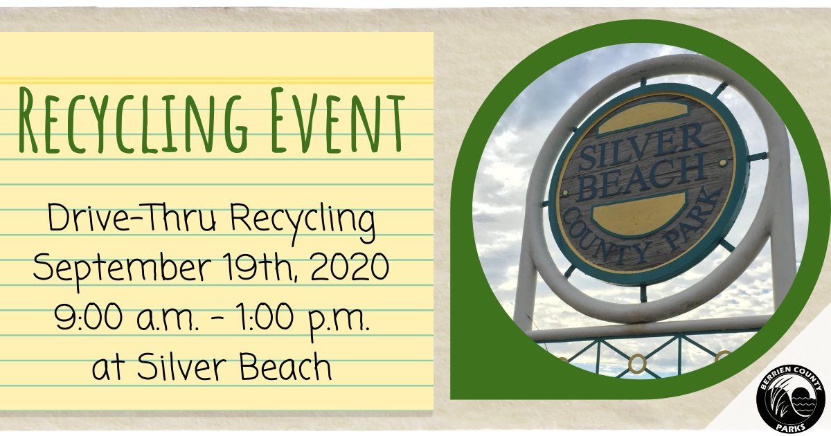 ♻️Community Recycling Event♻️ When: September 19th, 9 a.m. - 1 p.m. Where: Silver Beach County Park See the list of acceptable items here:  #recycled #recycling #recycle #safe #disposal #community #event #BerrienCounty #MIBerrien