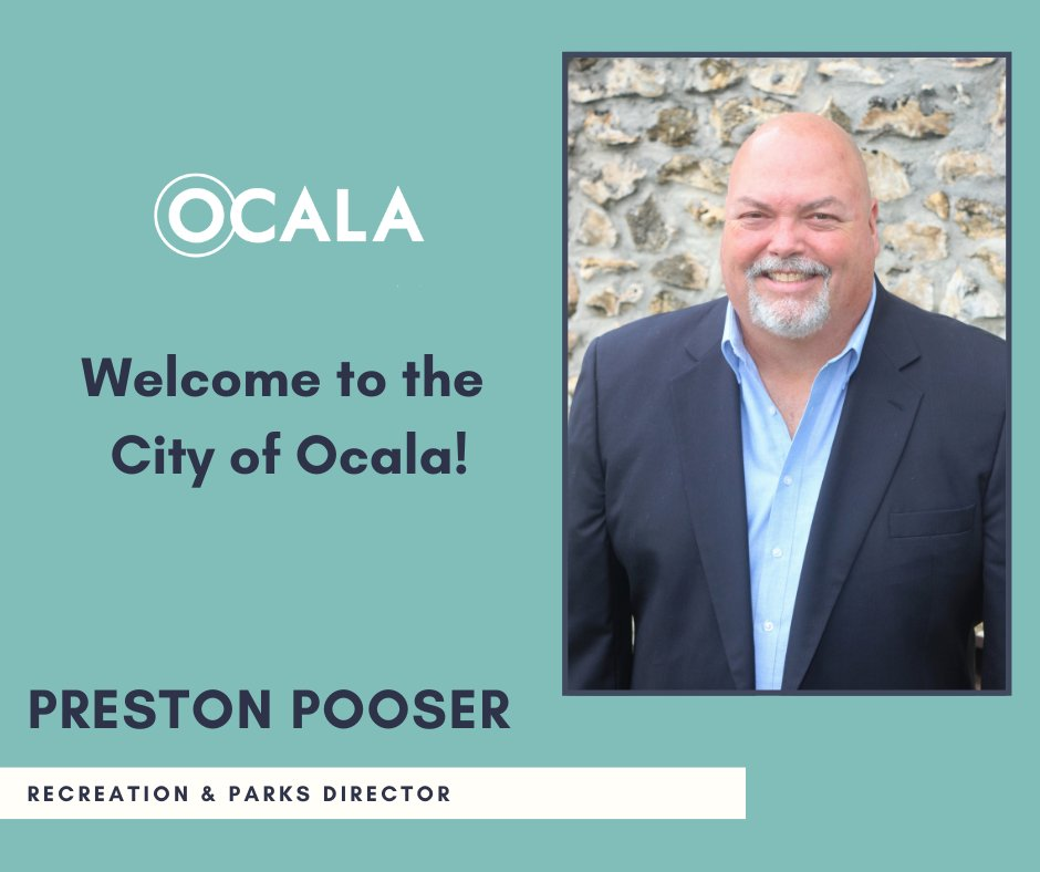The City of Ocala announces Preston Pooser as the new director for Ocala Recreation and Parks. Prior to joining the Ocala team, Pooser served as the Parks and Recreation Director for the City of Deerfield Beach, Florida since April 2019.