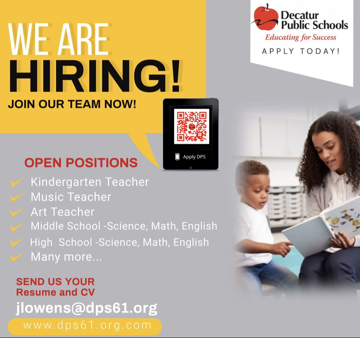 RT @JeyShow: DPS is seeking certified teachers to join our team of dynamic educators!  APPLY TODAY!