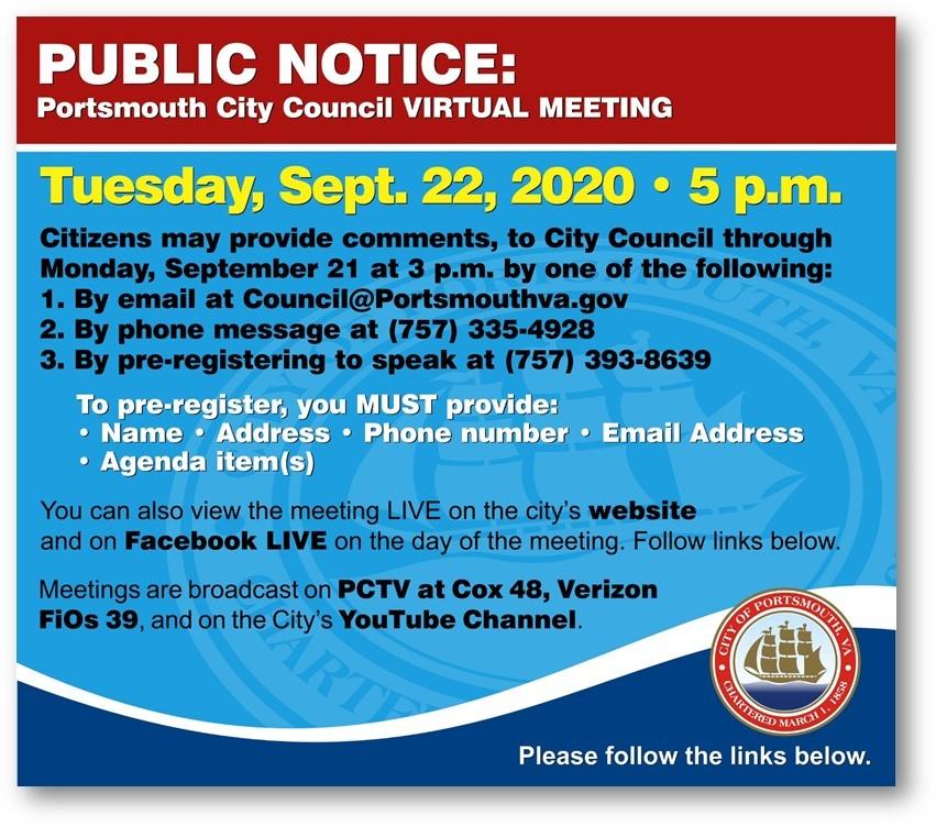 Connect with City Council: Council@portsmouthva.gov City Website at:  Facebook at:         04EV4u-LBLsu7UFYc4D5ZQ5moqh8tUwDA6ptmsq0Af4ewt0MJeaN1 YouTube at: