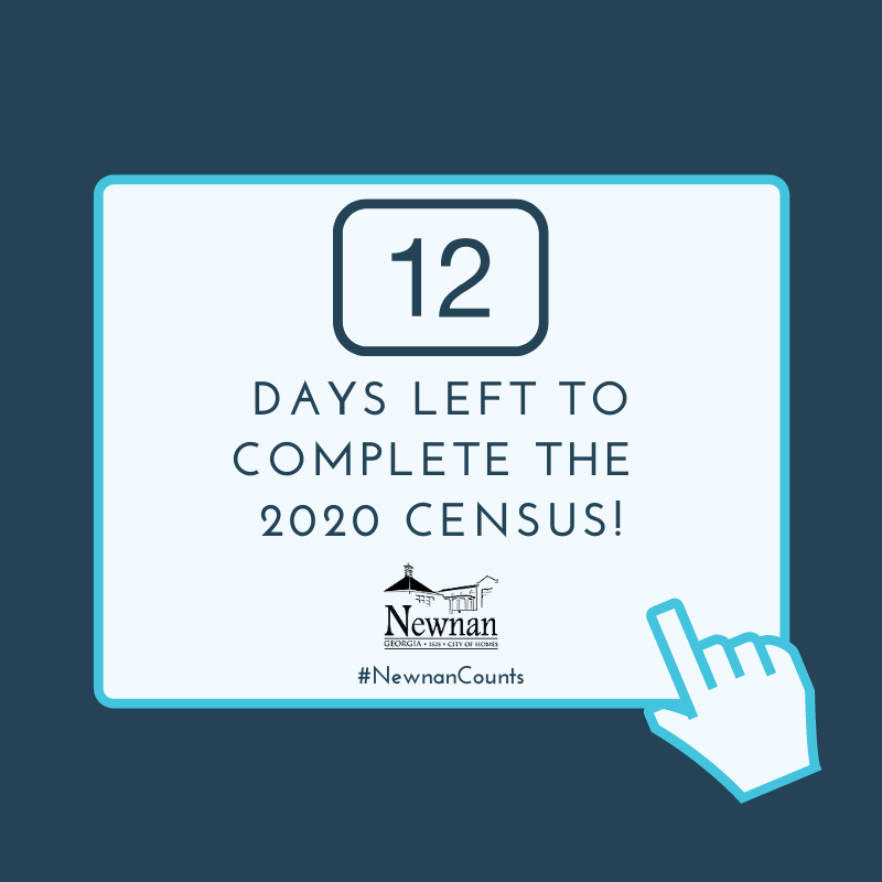 Time is ticking⏰...there are 12 days left to make #NewnanCount in the 2020 Census! Have you completed the Census, yet? It takes 10 minutes to make an impact on the next 10 years - go to  for more information!