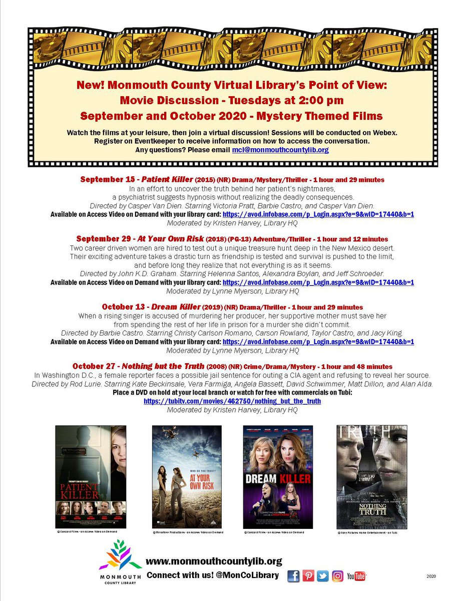NEW!! Need some ideas for movies to watch this weekend?? How about watching one of our upcoming mystery themed films and then join us for a discussion at a later date? 🎬🍿  Free and available with your library card 😃   #monmouthcounty