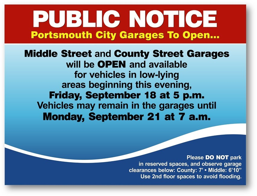 City garages open for vehicles parked in low-lying areas. Find details here . . .
