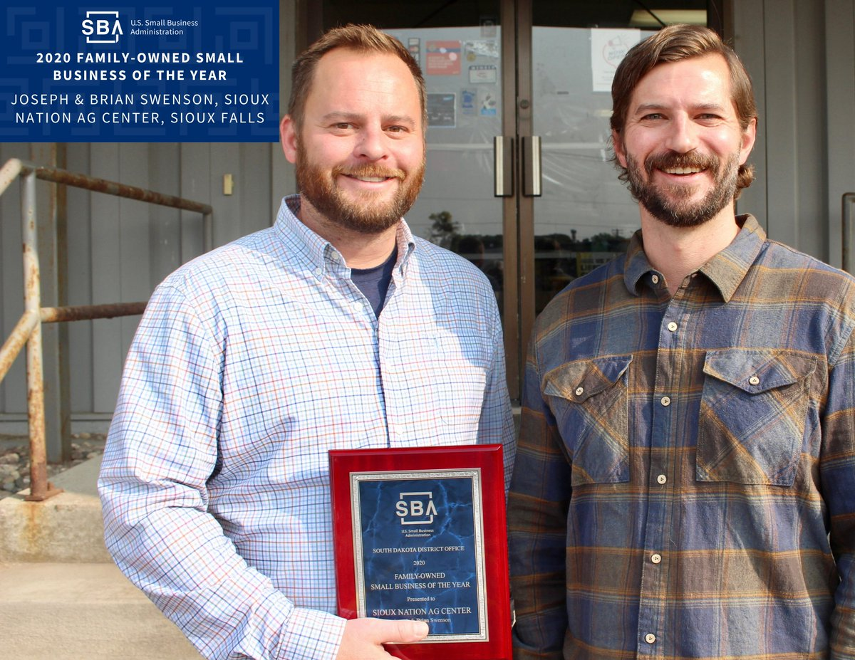 Congratulations to Brian and Joe Swenson of Sioux Nation Ag Center, Sioux Falls for being named the U.S. Small Business Administration (SBA) South Dakota 𝟮𝟬𝟮𝟬 𝗙𝗮𝗺𝗶𝗹𝘆-𝗢𝘄𝗻𝗲𝗱 𝗦𝗺𝗮𝗹𝗹 𝗕𝘂𝘀𝗶𝗻𝗲𝘀𝘀 𝗼𝗳 𝘁𝗵𝗲 𝗬𝗲𝗮𝗿!