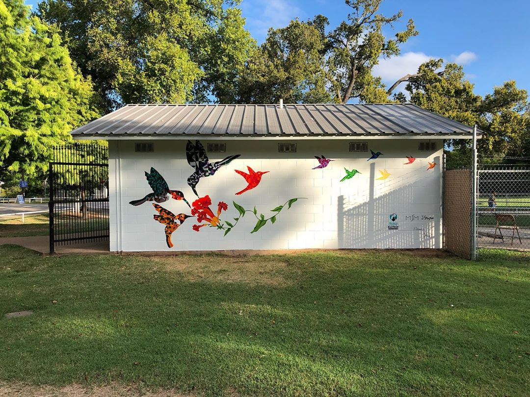 Have you spotted the new #mural at Fisherman's Park? Take a photo and don't forget to tag us and use the hashtag #ExploreBastropCounty! 📷: Painted Bunting Arts & Gifts