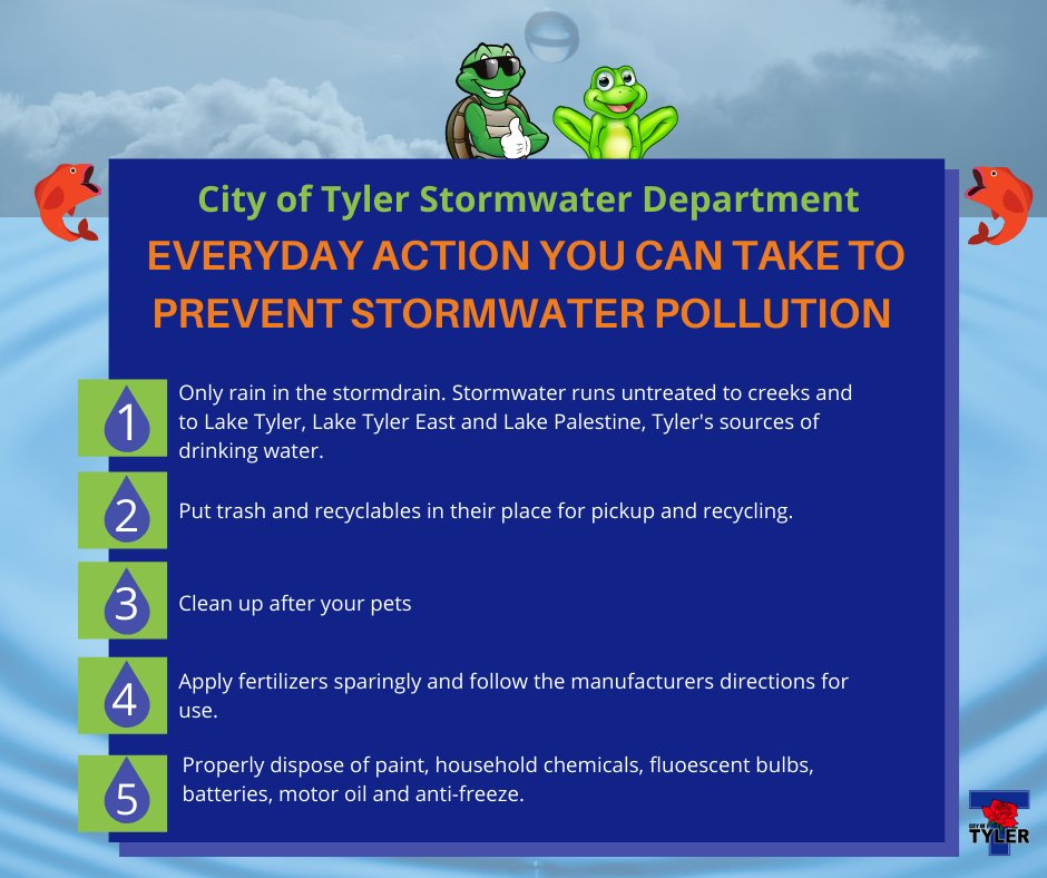 Anything stormwater comes into contact with as it flows over the landscape can contaminate it. Polluted stormwater runoff can be harmful to plants, fish, animals and people. Visit  for more information about the City of Tyler Stormwater Management Program.