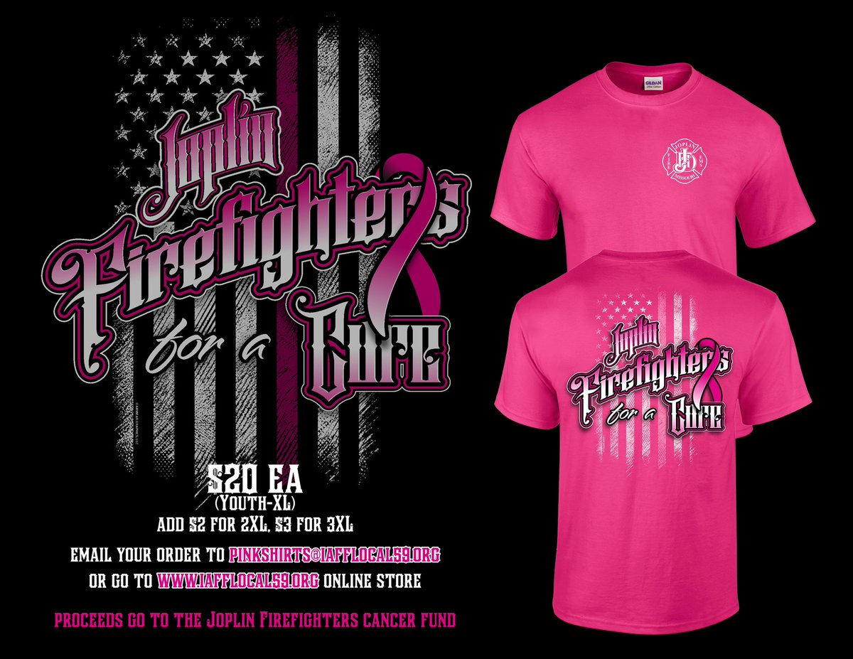 It's that time of the year! Order before the 24th and you will have them by October 1st!! Order them on our online store at  or email your order to pinkshirts@iafflocal59.org #breastcancerawareness #SaferJoplin #BreastCancerAwarenessMonth #IAFF
