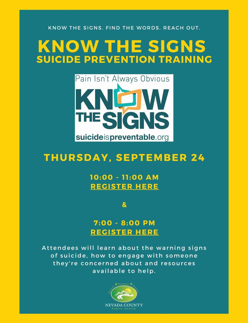 Have you ever wanted to learn more about what you can do to support people struggling with thoughts of suicide?  There's still room in our upcoming Know the Signs suicide prevention trainings on Sept 24 at 10am () and 7pm ()
