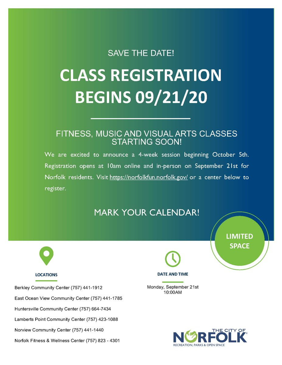 Recreation, Parks & Open Space will provide fitness, music & visual arts classes starting 10/5! Register online or in-person on 9/21 at 10am. All participants must wear masks & practice social distancing. Hand sanitizer provided. #NorfolkVA residents only.