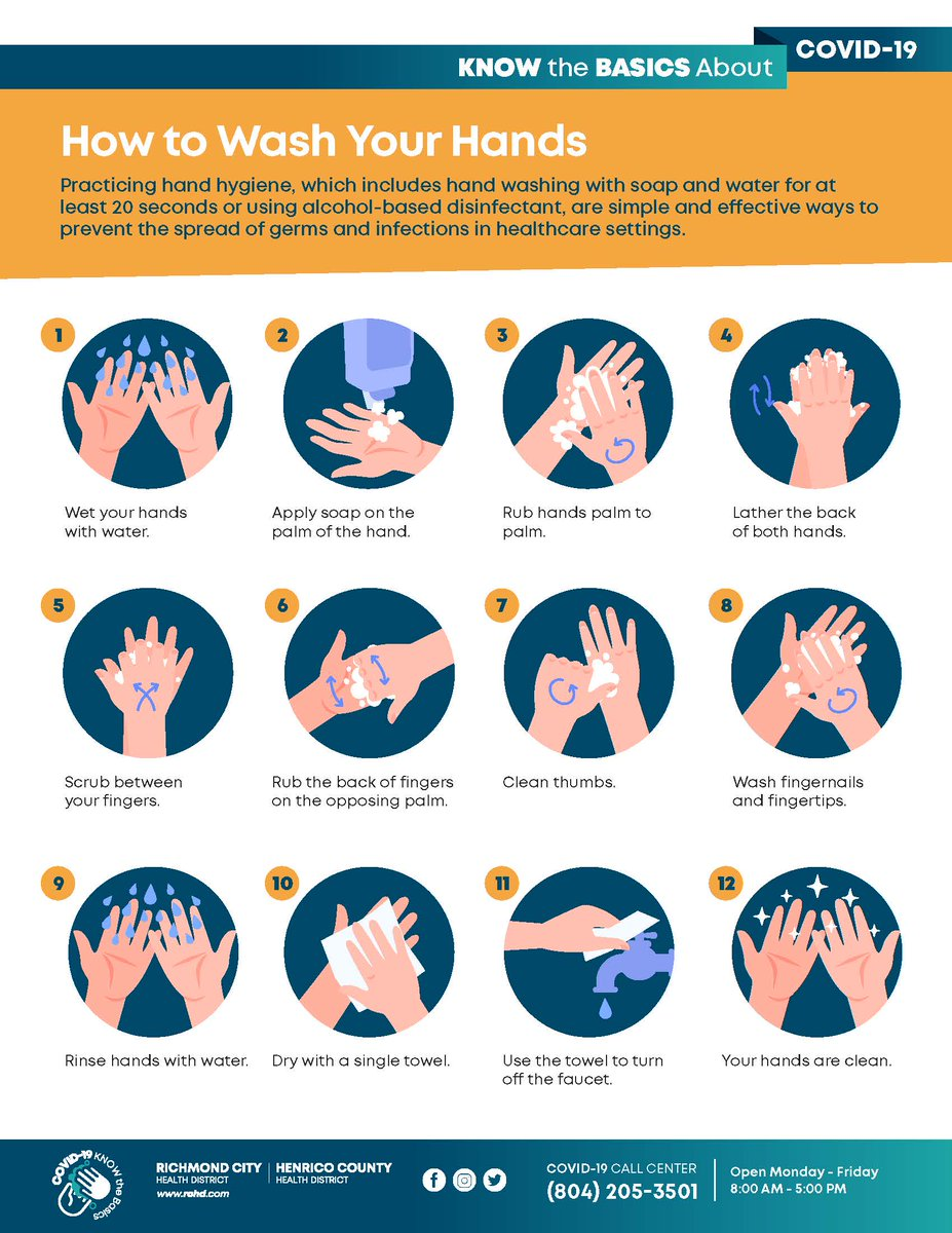 Henrico, let's be healthy together! Here are tips from @HenricoNews on how to wash your hands properly. For these and other guides, visit