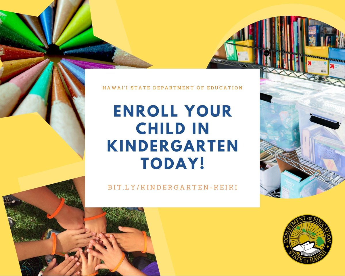 RT @HIDOE808: ICYMI: Did you know enrolling your child in kindergarten is mandatory? Start the process today: