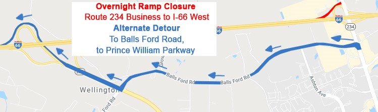 Overnight ramp closures at the I-66 interchanges with Route 234 Business (Sudley Road) and Route 28 next week. More: