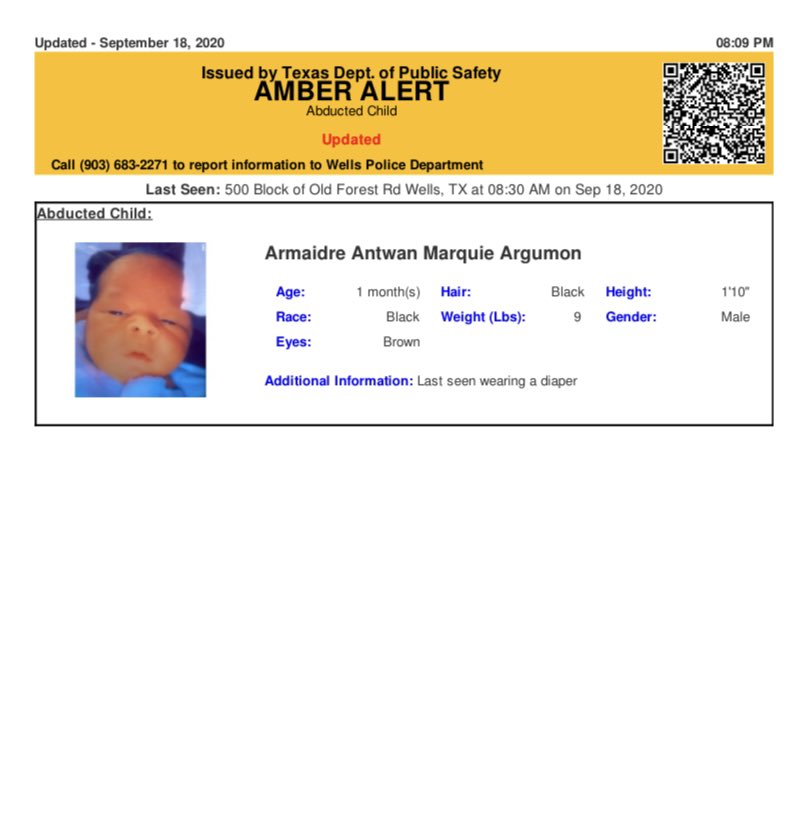 ACTIVE AMBER ALERT  for ANTWAN MARQUIE ARGUMON, BLACK, MALE, 1 MONTH OLD, 22 INCHES, 9 LBS, BLACK HAIR, BROWN EYES from Wells, TX