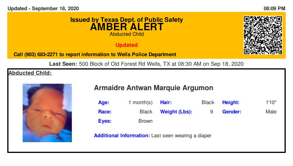 RT @TX_Alerts: ACTIVE AMBER ALERT for Armaidre Antwan Marquie Argumon from Wells, TX, on 09/18/2020.