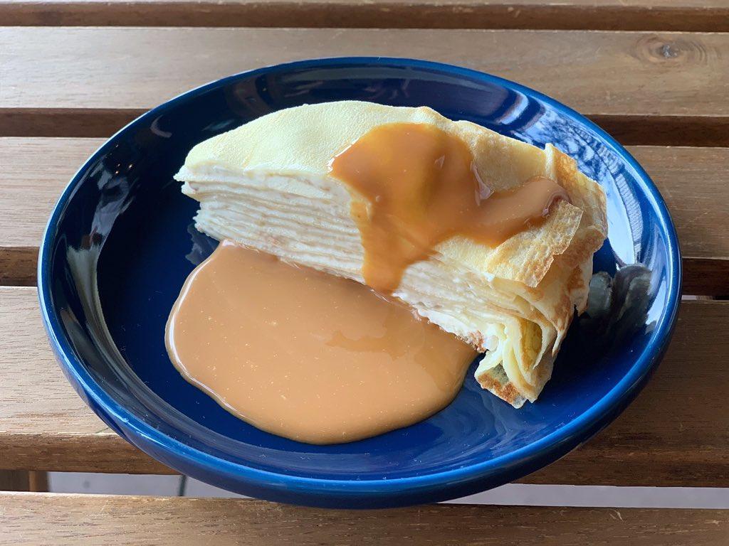 test ツイッターメディア - 本日のおすすめ  有機バナナカスタードのミルククレープ♪  国産の小麦粉、低温殺菌牛乳、ひよころたまごを使用した、自家製ミルククレープです!  ほろ苦いキャラメルソースをたっぷりからませて食べたら幸せの味です♪ https://t.co/Qi1m7pqiQJ