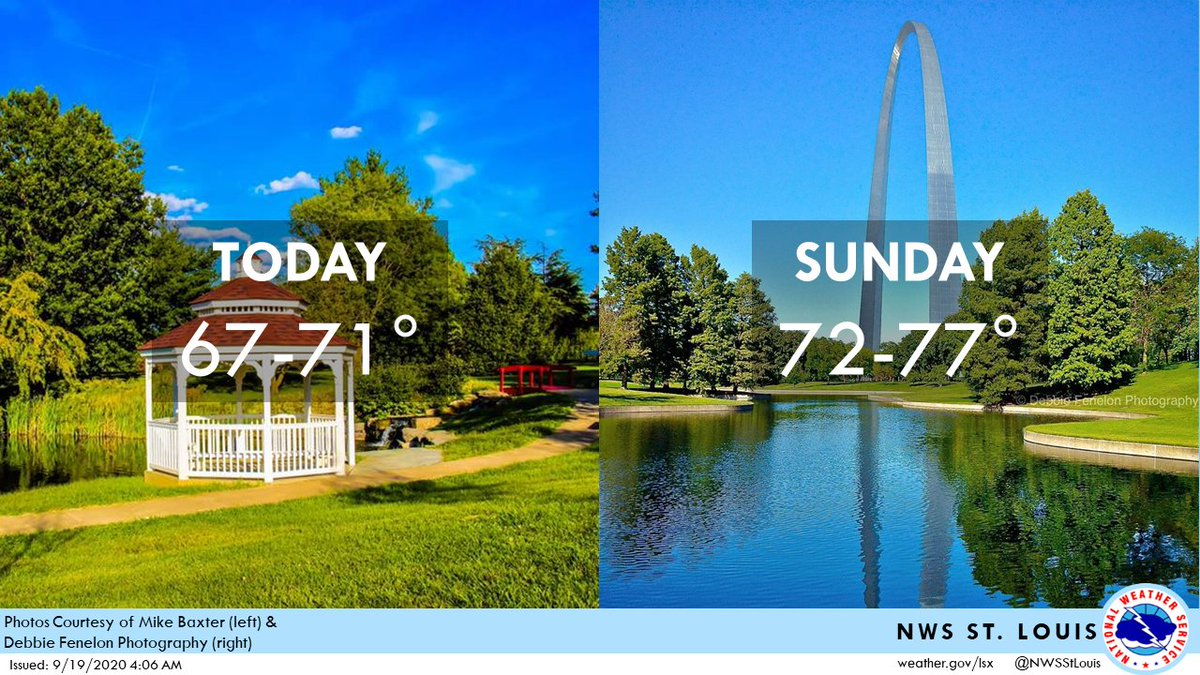 A beautiful weekend is ahead! Skies will be mostly clear😎, afternoon highs will reach the upper 60s to upper 70s, & overnight lows tonight will dip down into the 40s - possibly a degree or two cooler than that for some low-lying areas. #stlwx #mowx #ilwx #midmowx
