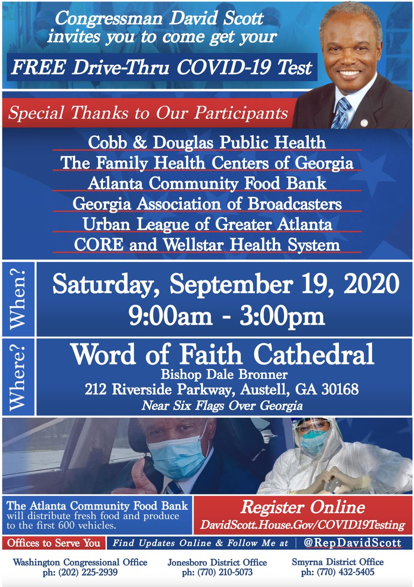 CDPH is partnering with Congressman David Scott to provide free COVID-19 testing. Join us TODAY at Word of Faith Cathedral from 9 am to 3 pm.  For more information: