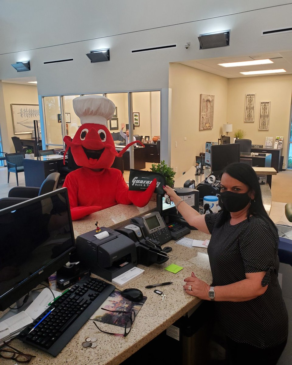 Thank you to our friends at Guaranty Bank & Trust for your continued support of Lobsterfest as our SPIRITS and MASCOT Sponsor, providing beverages all along the golf course! Lucy the Lobster was able to stop by and say hello the other day and make a quick deposit of GRATITUDE!