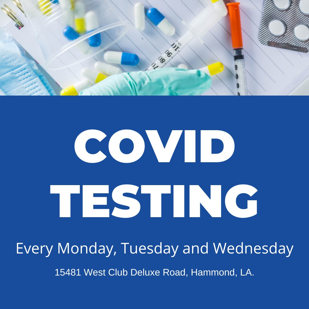 Starting Monday, September 21st, the date and location of free COVID testing will be available every Monday, Tuesday, and Wednesday and continuing every week until further notice at the Office of Public Health, 15481 West Club Deluxe Road, Hammond, LA.