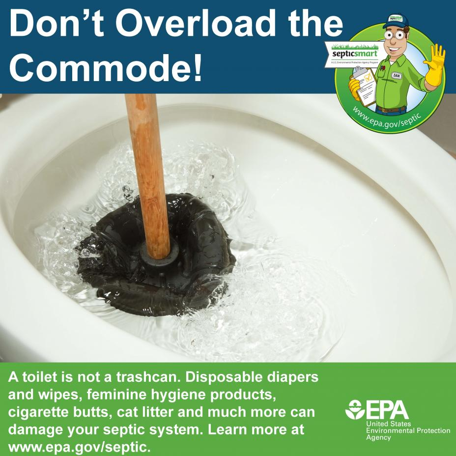 Don't overload the commode if you have a septic system at your home! Learn about what can be flushed down the toilet, and what should be thrown in the trash.