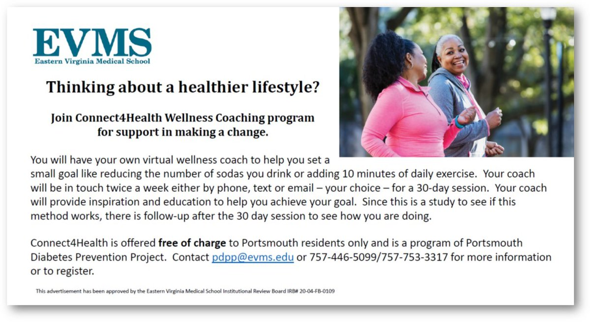 Interested in improving your overall health? Connect4Health Wellness Coaching program can help. Contact pdpp@evms.edu for additional information.
