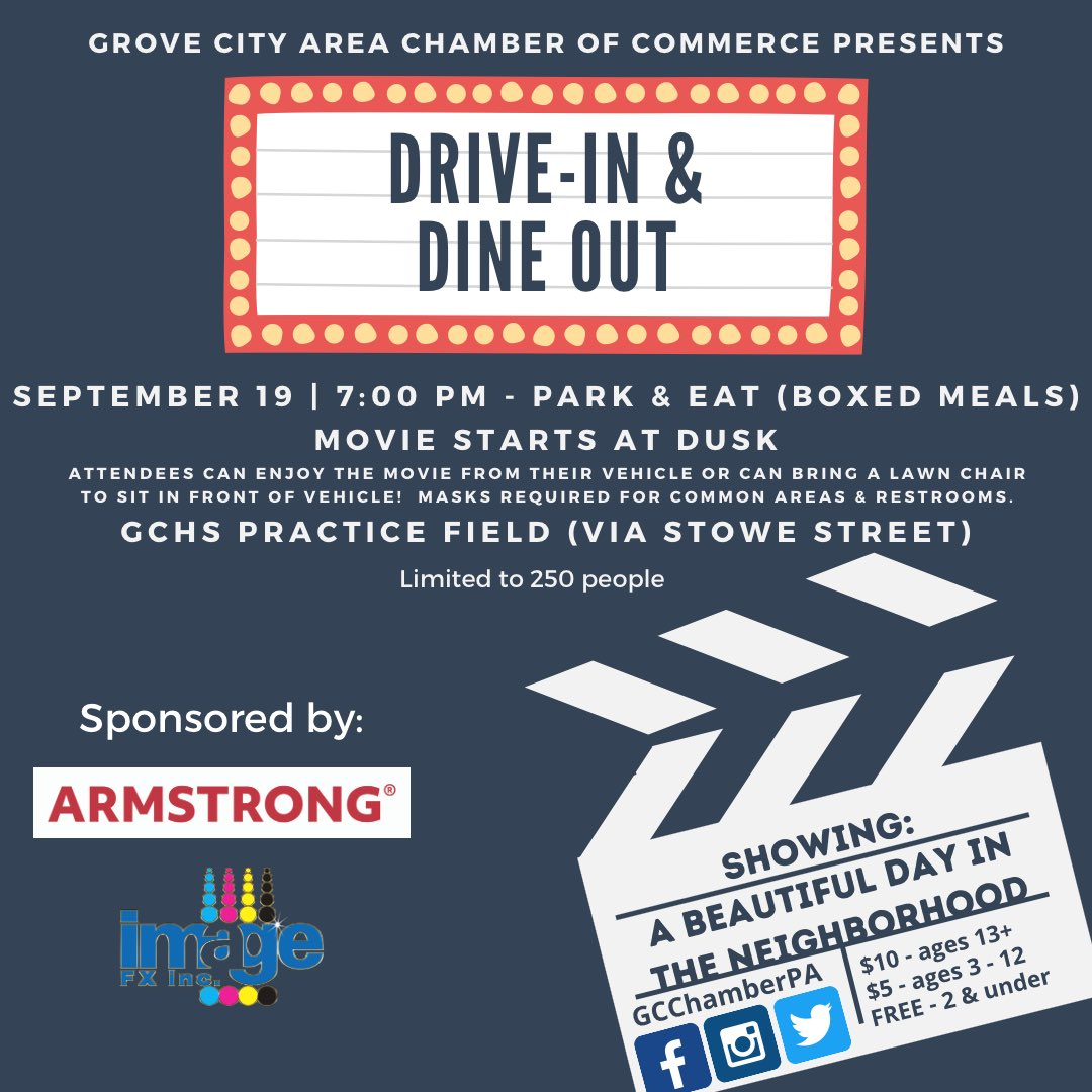 TONIGHT!!!!! Can't wait to see all of our neighbors and enjoy a great evening in Grove City! It's going to be A Beautiful Day in the Neighborhood! See you at 7pm!