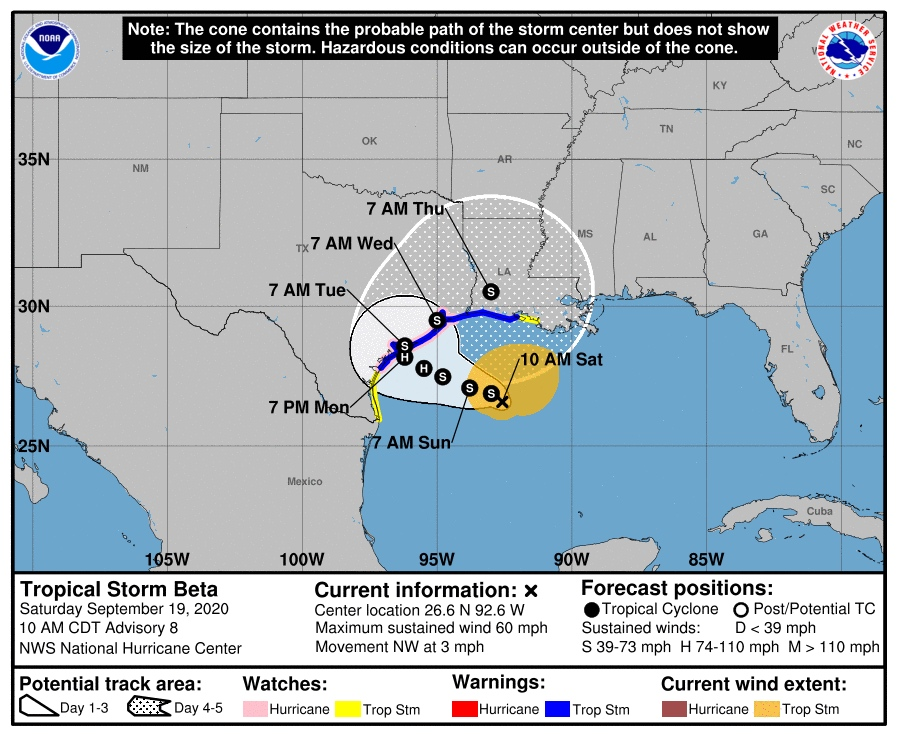 Tropical Storm #Beta Watch west of the Mouth of the MS River has been upgraded to a Tropical Storm Warning. Forecasted to move slowly westward through early next week today before turning northeastward mid week.