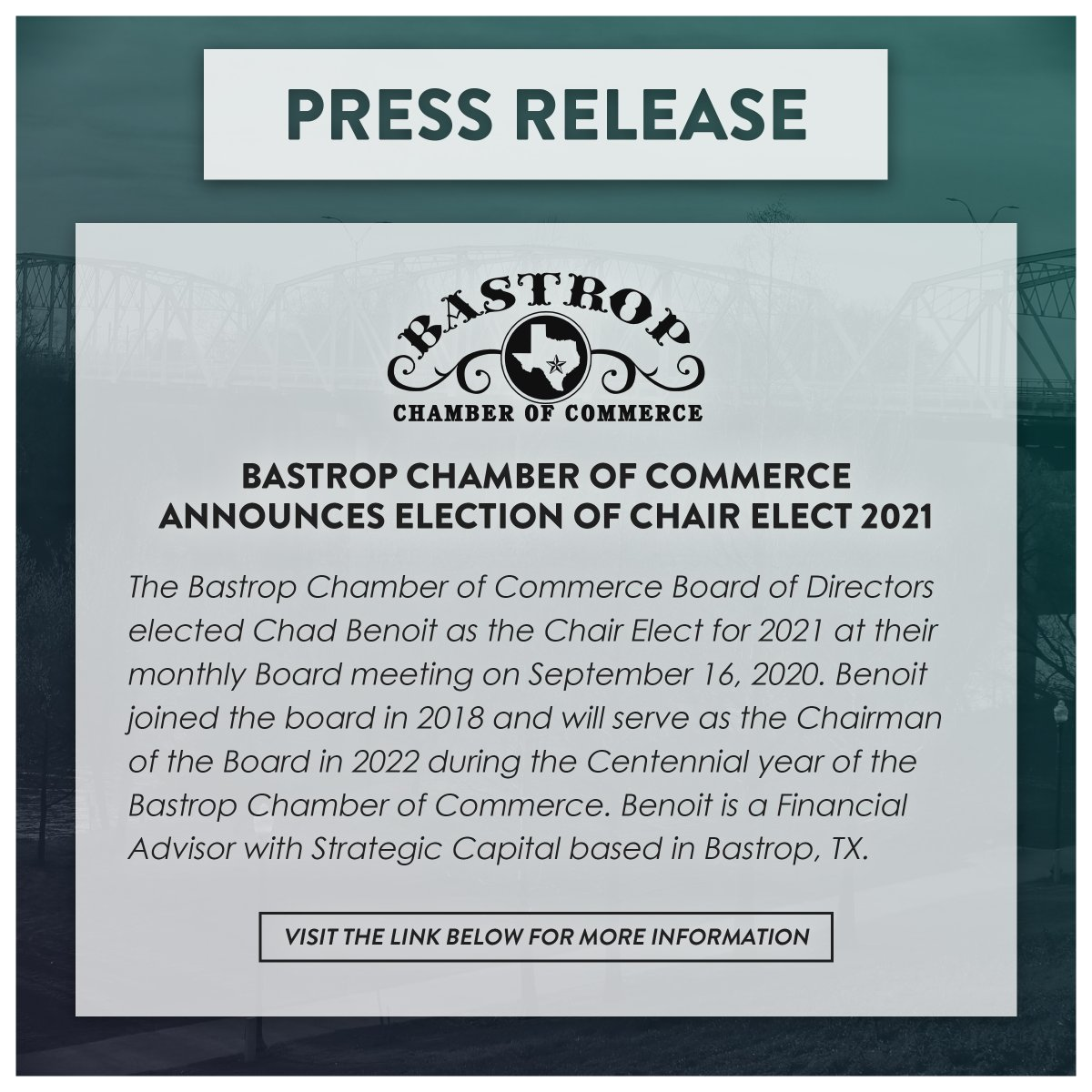 Press Release from the Bastrop Chamber of Commerce! Visit the link below for more information!