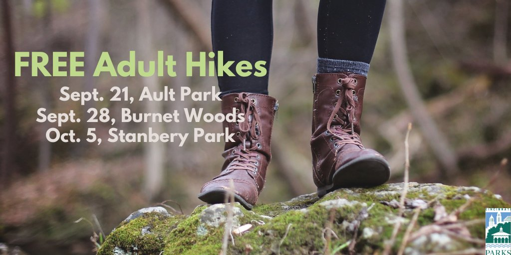 Join Explore Nature's FREE Adult Hikes on September 21 at #AultPark or September 28 at #BurnetWoods. Get active while exploring beautiful #CincyParks with other adults.  Registration is required. Sign up here: