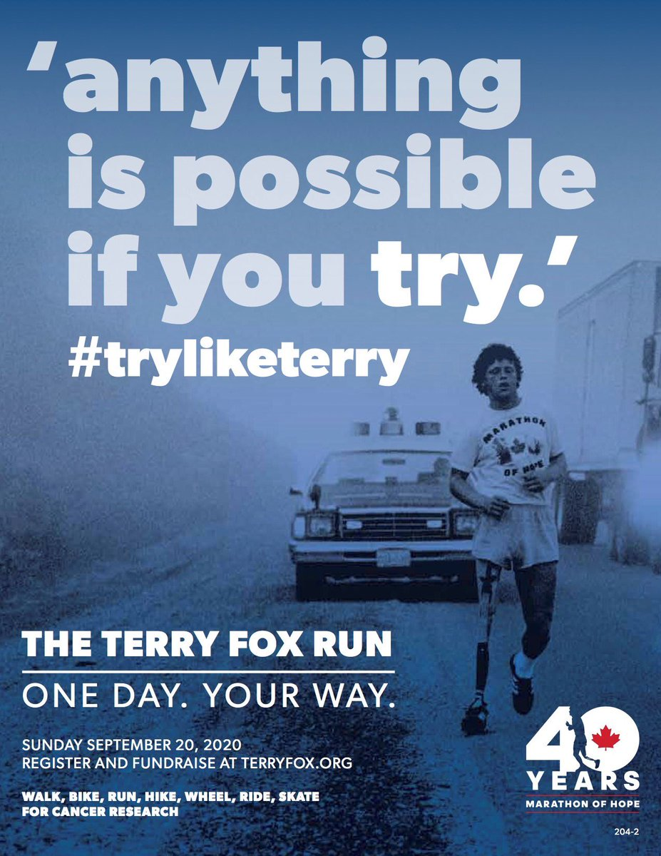 test Twitter Media - This Sunday marks the 40th anniversary of #TerryFoxRun  The run this year will look different, but the fight against cancer must go on. His strength and determination continues to inspire us today. Register, donate or sponsor by going to https://t.co/A99V7rmd0Q #TryLikeTerry https://t.co/s1cc84bdcw