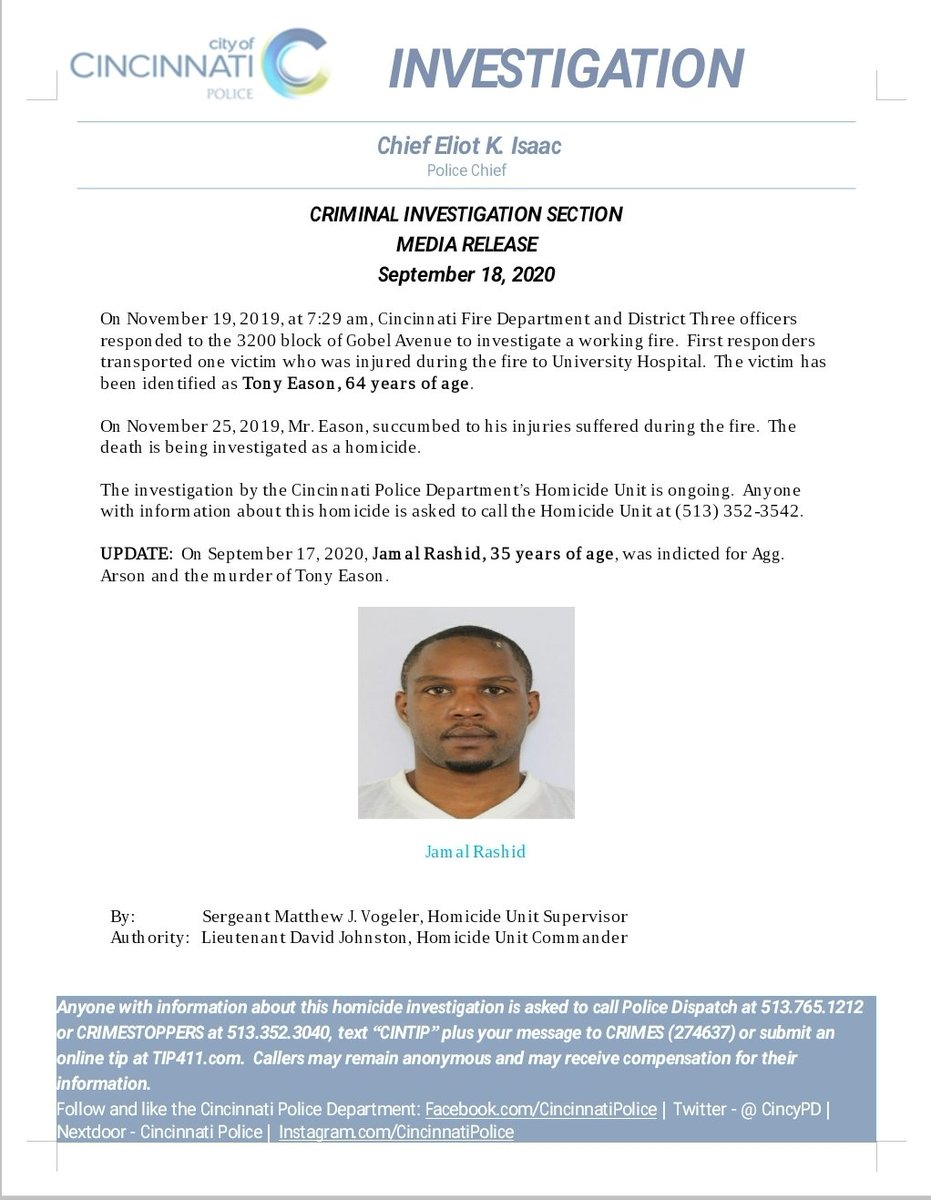 @CincyPD Homicide Unit Press Release UPDATE!                     ARREST MADE!  Jamal Rashid has been arrested for the Murder of Tony Eason that occurred in November 2019.