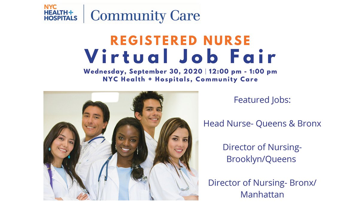 Join NYC Health + Hospitals @CommunityCareNY for a virtual job fair for registered nurses on Sept. 30 from 12-1 p.m. Please register if you plan to attend: