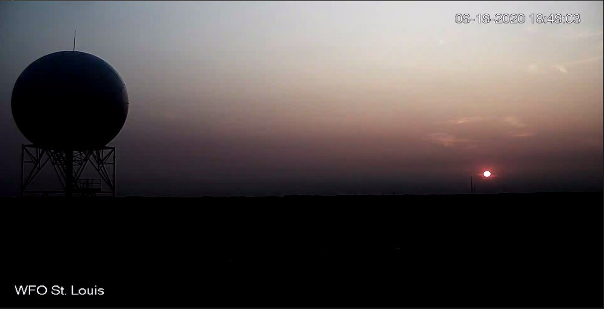 Another smoky #sunset as seen from the tower camera at our office. Sunset is around 7:02pm CDT this evening. #stlwx #mowx #ilwx