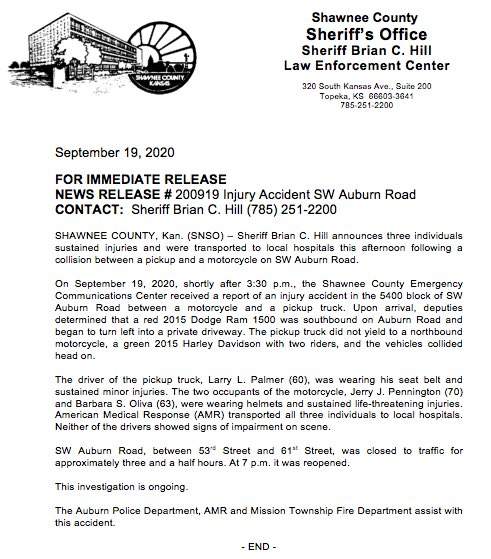 Sheriff Brian C. Hill announces three individuals sustained injuries and were transported to local hospitals this afternoon following a collision between a pickup and a motorcycle on SW Auburn Road.