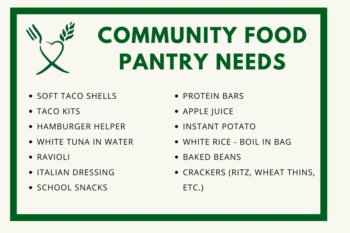 The Community Food Pantry is in need of the following items! Donations can be dropped off in the shopping carts located in the front entrance of Town Hall.
