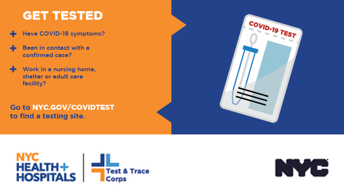 If you have not had #COVID19 symptoms or a positive virus test within the past two weeks, you qualify for free, safe and easy antibody testing! Know your status so that you can help keep your fellow New Yorkers safe. More info:  | #NYCTestandTrace