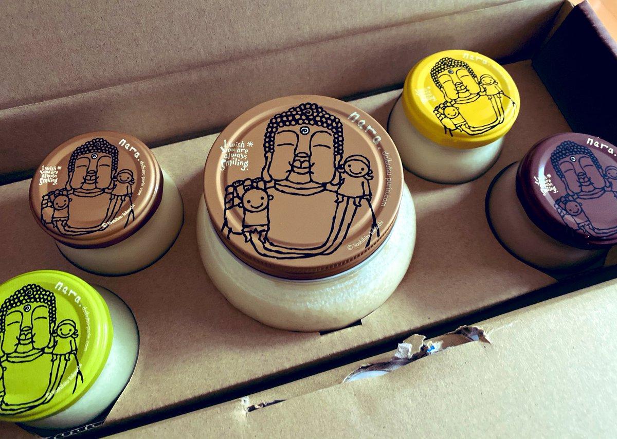 test ツイッターメディア - 奈良のお友達に八丈のお酒やら色々詰めて送ったら、お返しに大仏まほろばプリンが届いた🎁知らなくて開けたら、デカイ😂⚡ 可愛い入れ物で、美味しいし幸せ〜💗 今日は先週の暑さはどこへ行ったのか寒いですね。ゆっくりお風呂に浸かって夕飯の豚汁が染みます🛀🏼🍴 #大仏まほろばプリン #奈良 #八丈島 https://t.co/41sETQC42Q