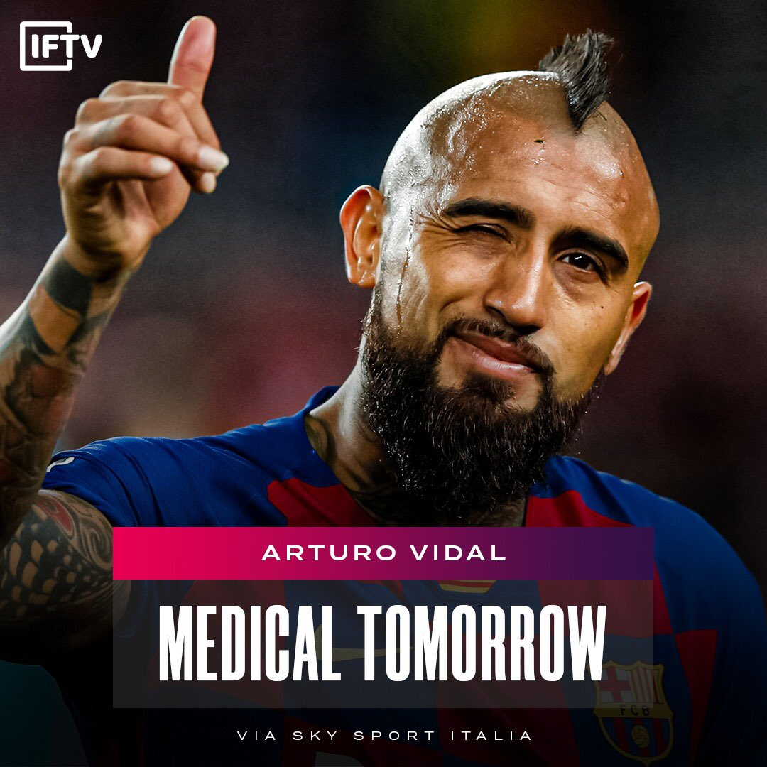 According to Sky, Vidal will land in Milano today and have his Inter medical tomorrow. https://t.co/6lQrRcPMH9