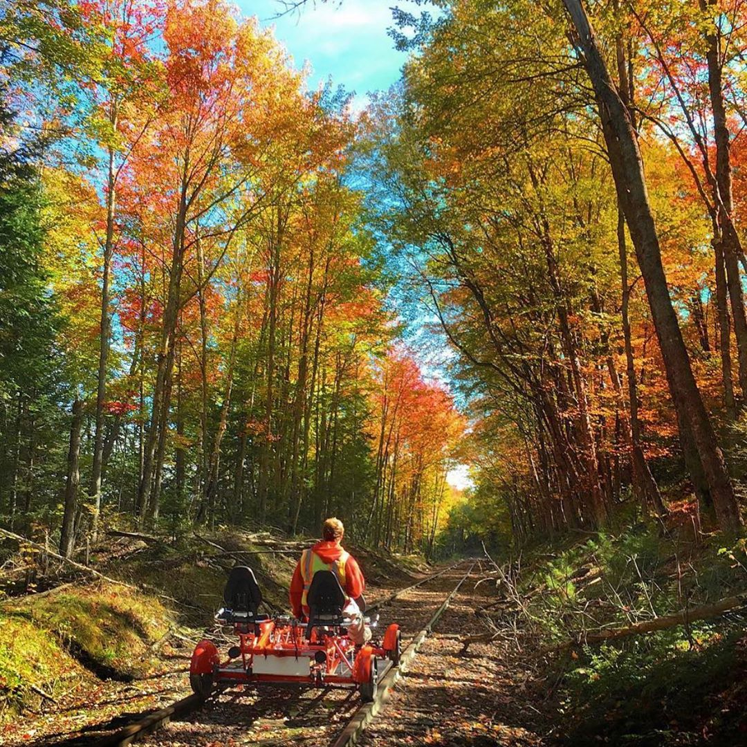 Unwind in the Catskills at @emersonresort, then peep the changing leaves as you explore Ulster County from a custom-built rail bike. Emerson guests receive a 10% discount when booking @RailExplorersUS by phone!  : #Seekforyourself #RailExplorers
