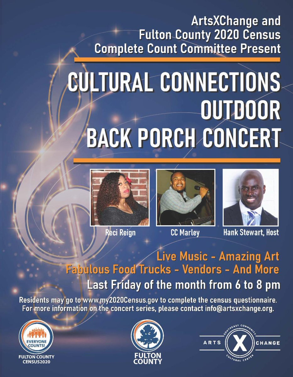 You are invited to the free #2020Census Back Porch Concert on Friday, September 25, from 6 to 8 p.m. at the ArtsXChange located at 2148 Newnan Street in East Point. #FultonCounts