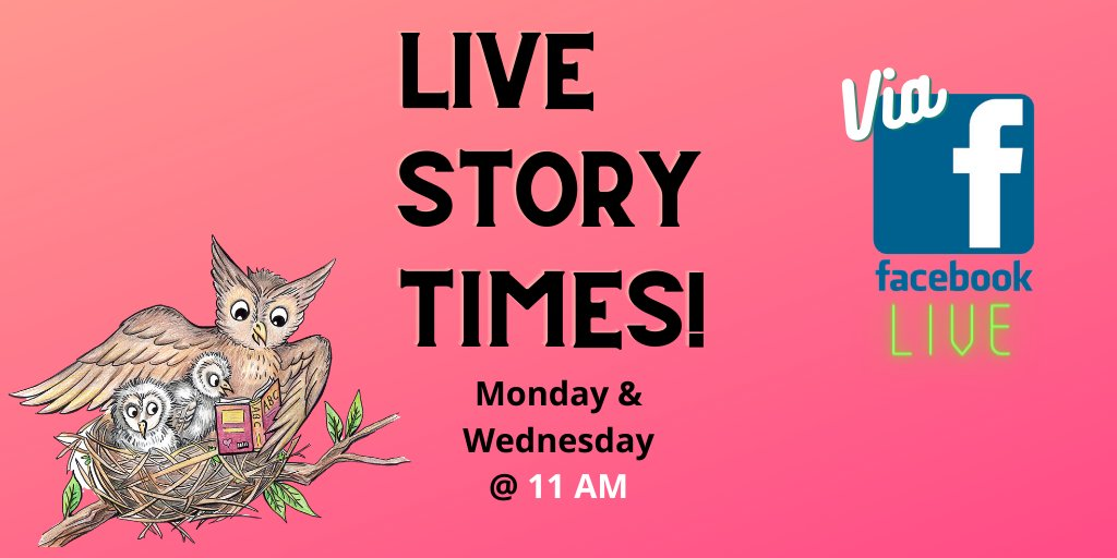 Join us this Monday and Wednesday for a LIVE story time event on our Facebook Channel at 11am! - ⠀