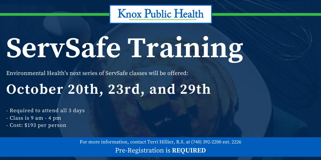 Our Environmental Health staff are taking registrations for their upcoming ServSafe series in October. A reminder that we can only have 9 participants in the class, so make sure to register soon! Link to class information: