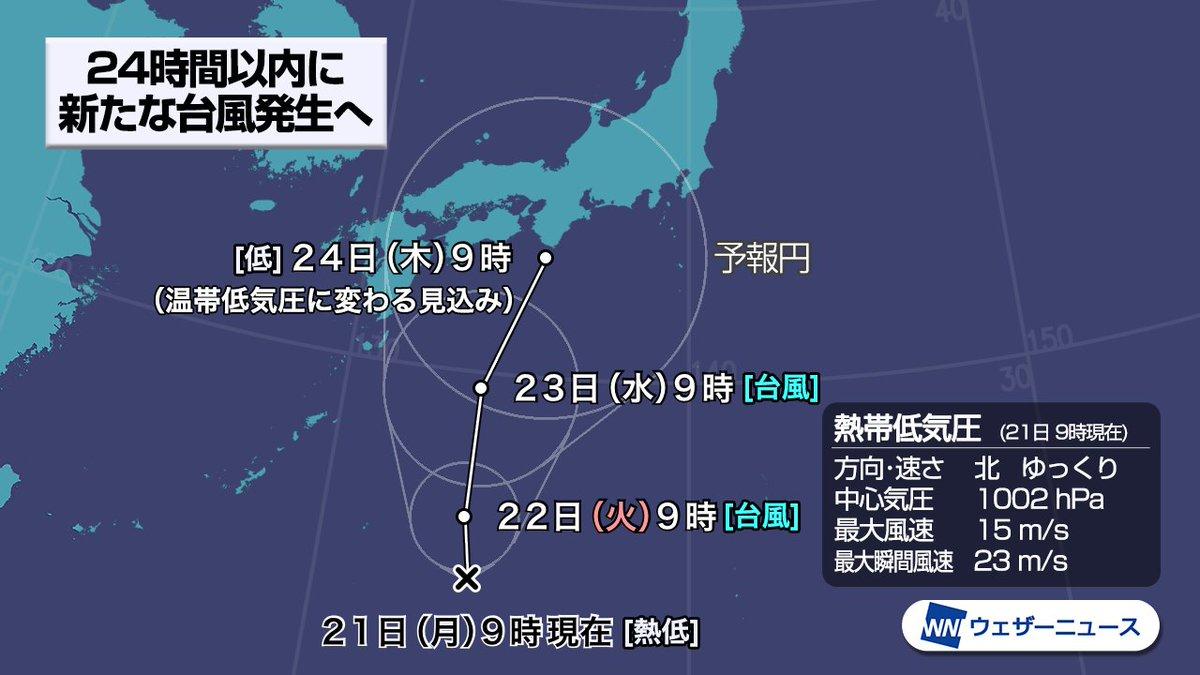 test ツイッターメディア - 【24時間以内に台風発生予想】日本の南海上の熱帯低気圧は発達しながら北上を続けています。今後は台風まで発達し、連休明けは日本列島にかなり近づく見込みです。秋雨前線とともに大雨をもたらすおそれがあります。 https://t.co/yPEB1lPCva https://t.co/ATP6UNj3Jy
