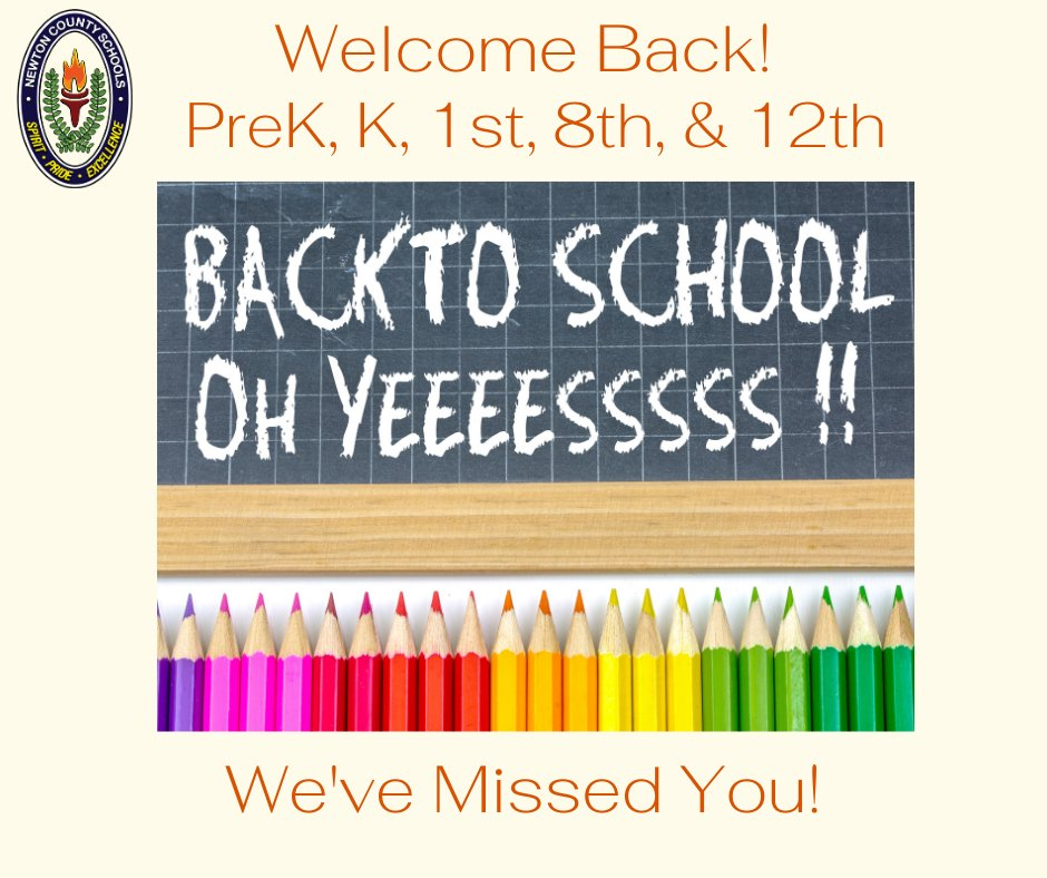 We are so happy to WELCOME BACK our Pre-K, Kindergarten, 1st Grade, 8th Grade, and 12th grade students to in-person learning. We've missed you!  #NCSSBeTheBest