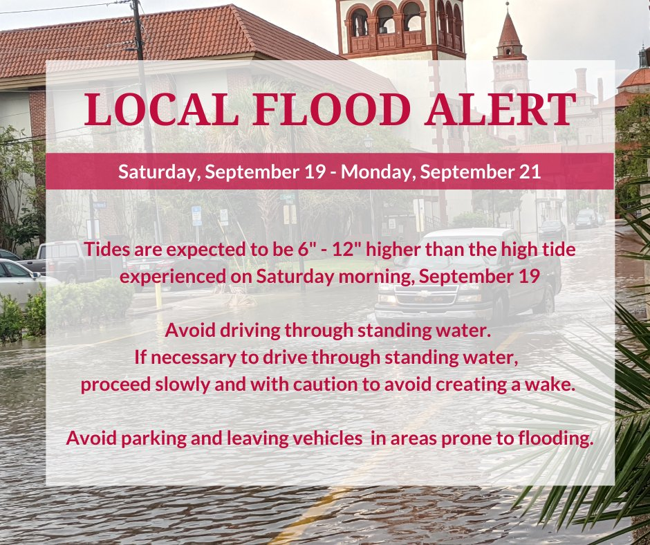 LOCAL FLOOD ALERT through Monday Tides expected 6