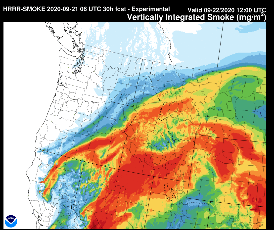 [9/21 640am] After a few smoke free days, its heading back this way. Expect wildfire smoke to increase late tonight into the day Tuesday. Here is an image from our HRRRx Smoke Model for this time tomorrow morning. Higher smoke concentrations in red. #MTwx #WYwx